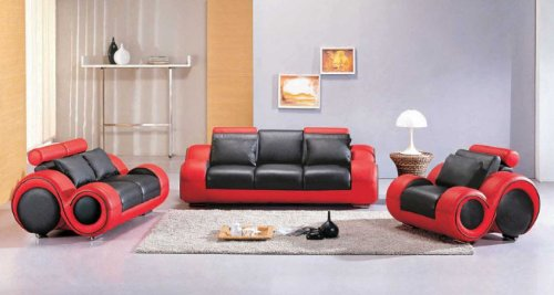 VIG Furniture 4088 Red & Black Leather Sofa Set