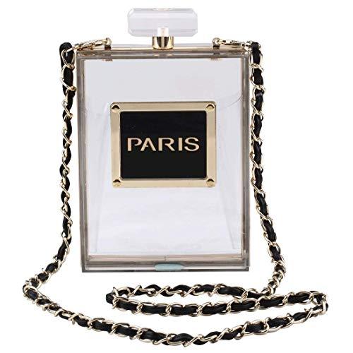 LETODE Women Acrylic Bag Black Paris Perfume Shape Evening Bags Purses Clutch Vintage Banquet Handbag -