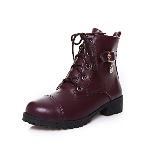 Women's Solid Material WeenFashion Claret Toe Round Low Boots Soft Heels Top Low Closed SZYdqY