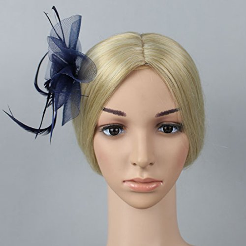 Free Yoka Womens Fascinators Feather Pillbox Hat Cute Beads for Cocktail Kentucky Derby Ball Wedding Church Party (Navy) by Free Yoka (Image #2)