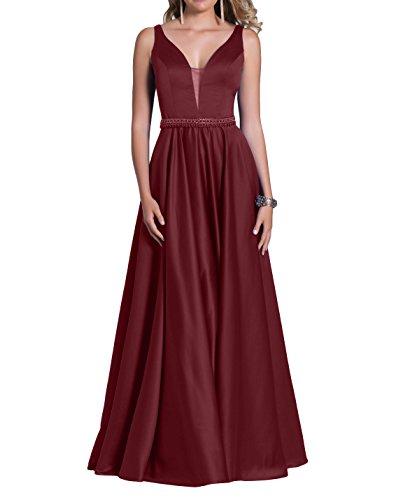 Promkleider Partykleider Satin Brau mia La Rock Perlen Langes Burgundy A Pailletten Brautmutterkleider mit Festlichkleider Linie Abendkleider x04wYU