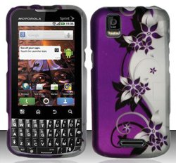 Motorola XPRT MB612 (Sprint) Purple/Silver Vines Design Hard Case Snap On Protector Cover + Free Wrist Band (Motorola Xprt Mb612)