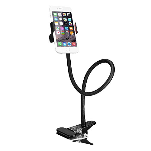 - BESTEK BTIH600BK Gooseneck Phone Holder, Lazy Bracket Holder 360° Swivel for iPhone and Other Smart Phones for Bedroom, Office, Bathroom, Kitchen, Black
