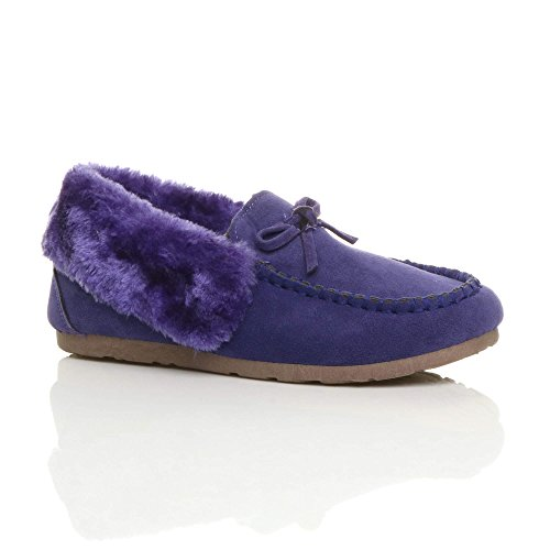 Mocassins Des Luxe Fourrure Des Femmes Pantoufles Souple Mouton Violet Taille Imitation Peau De Chaussures Semelle Dames D'hiver De q1Fvq