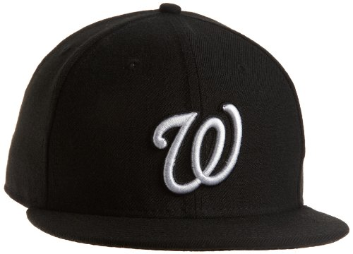 (MLB Washington Nationals Black with White Logo 59FIFTY Fitted Cap, 7 3/8)