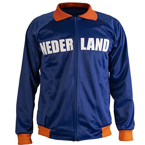 Netherlands/Nederland Holland Jacket Retro Football Tracksuit Zipped Jacket Men Top - M Blue (Track Netherlands Jacket)