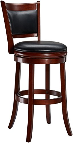 Ball & Cast Jayden Wooden Swivel Bar Stool with Faux-Leather Upholstery, 29-Inch, Brandy