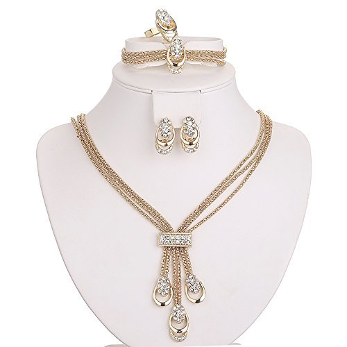 Moochi 18K Gold Plated Africa Royal Style Strands Chain Necklace Earrings Ring Bracelet Jewelry Set