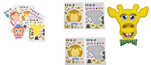 (36) Make-a-Zoo Animal Sticker Sheets ~ Birthday Party Favors ~ Arts School Classroom Teacher Gifts ~ Goody Bag Fillers ~ Christmas Stocking Stuffers ~ Halloween