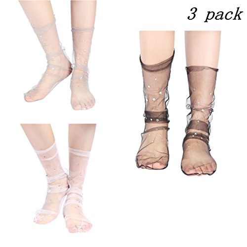 3 Pairs Women Ankle High Socks Sheer Slouch Socks Transparent Lace Socks (Beige/Gray/Pink (Little Star))
