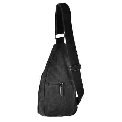 EVELA™ Men's Small Canvas Military Messenger Shoulder Travel Hiking Bag Backpack Black