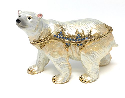 Box Trinket Bear - Kubla Craft Enameled Polar Bear Trinket Box, Accented with Austrian Crystals, 4 inches Long