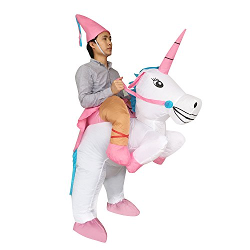 [Adult Inflatable Ride Unicorn Party Dress Halloween Suit Fancy Couple Costume] (Third Leg Costume)