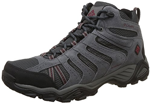 Columbia Men's North Plains Ii Waterproof Mid Hiking Boot, Dark Grey, Garnet Red, 8 D US by Columbia