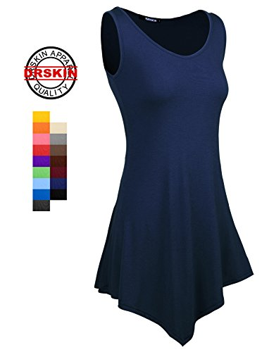 [DRSKIN] WS08 Women Handkerchief Hem Tank Tunic Top (M, Navy)
