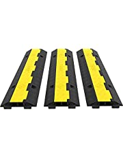 Happybuy 3 Pack of 2 11000lbs per Axle Capacity Protective Wire Cord Ramp Driveway Rubber Traffic Speed Bumps Cable Protector
