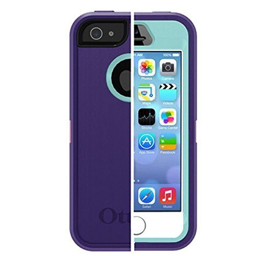 OtterBox DEFENDER SERIES Case for iPhone 5/5S/SE ONLY with Belt/Clip Holster - Retail Packaging - Purple/Light Blue