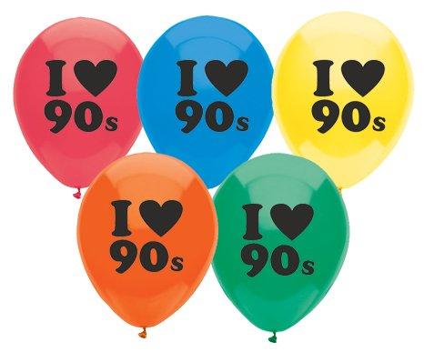 American Balloon Company 90s Balloons 10 Latex 90s Theme Balloons Assorted (90s Theme)