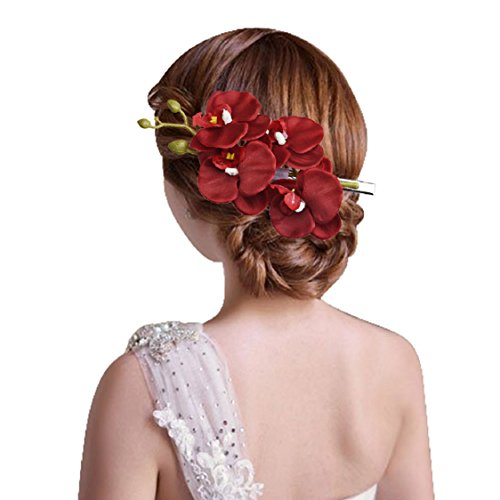 Ikevan Hot Selling Women Fashion Jewelry Side Clip Barrette Simulation Butterfly Orchid Hairpins Hair Accessories (Red)