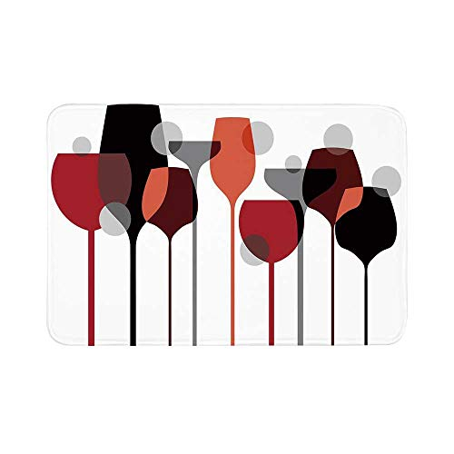 C COABALLA Wine Durable Door Mat,Stylized Abstract Wine Glasses Silhouettes with Dots Alcohol Drink Modern Artistic Decorative for Living Room,15.7