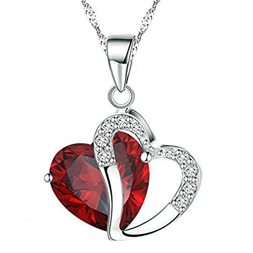 Red Rhinestone Heart (Shally Women's Stylish Artificial Gem Love Heart Shape Pendant Chain Necklace Valentines Gift)