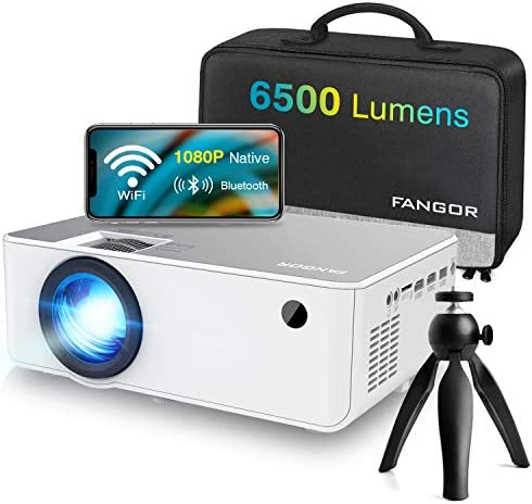 """1080P HD Projector, WiFi Projector Bluetooth Projector, FANGOR 6500 Lumen 230"""" Portable Movie Projector, Compatible with TV Stick, HDMI, VGA, USB, Laptop, iOS Android for PowerPoint Presentation"""