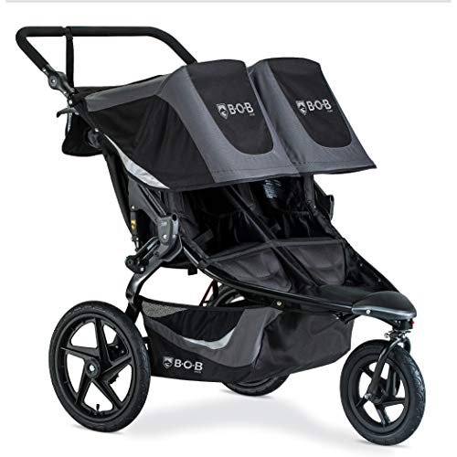 BOB Gear Revolution Flex 3.0 Duallie Jogging Stroller, Graphite Black | Smooth Ride Suspension + Easy Fold + Adjustable Handlebar [New Logo]