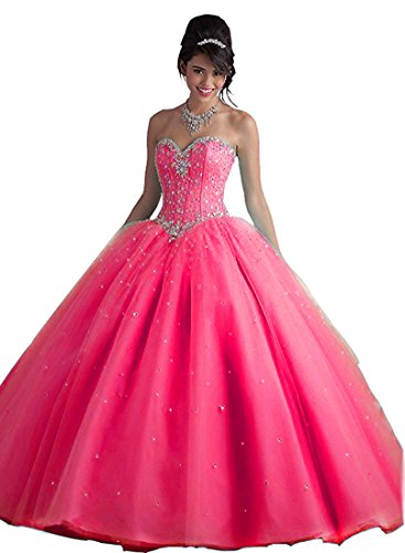 Beilite Women's Sweetheart Prom Long Dresses Quinceanera Gown With Crystal Sequins Hot Pink - Women Nakes Hot