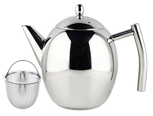 Elegant Teapot 1 Litre 34oz Polished Stainless Steel with Infuser Strainer