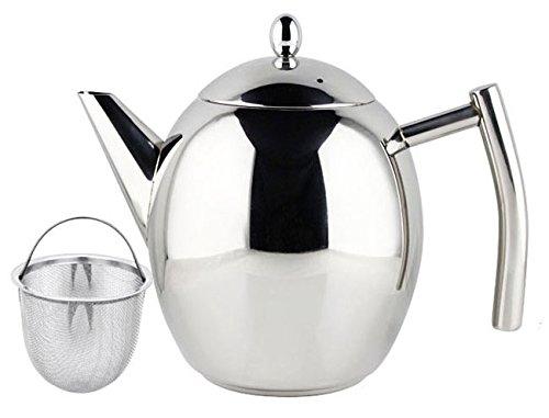 Elegant Teapot 1 Litre 34oz Polished Stainless Steel with Infuser (Sterling Tea Saucer)