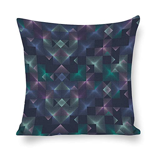 Welkoom Sofa Pillow Cases Throw Pillows with Covers Symmetry Triangle Magenta Violet Turquoise Cotton Linen Decorative Cushion -