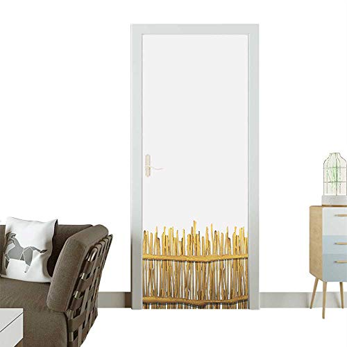 (Door Sticker Wall Decals Rough Log Style Wood Life Greenland Place Boho Work Brown Easy to Peel and StickW35.4 x H78.7 INCH)