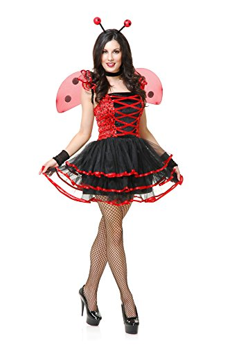Charades Women's Lady Bug Cutie Costume, Black/red, Medium -