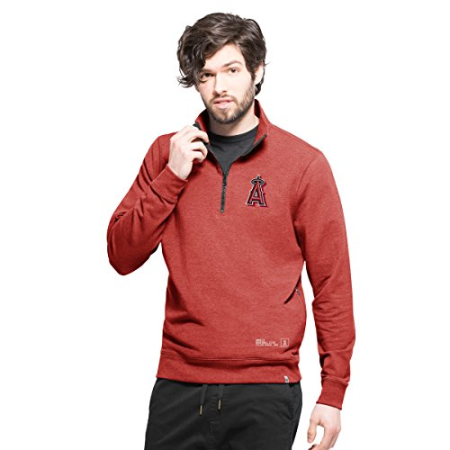 Angels Knit Jacket - MLB Los Angeles Angels Men's React 1/4-Zip Pullover Jacket, Small, Shift Red