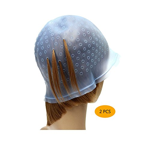 Hair Dye Highlited Tool for Women Men Hair Highlighting Kit Hair Color Hat Highlighter Hair Dye Cap Reusable Hair Colouring Highlights Dye with Needle for Beauty Salon Home Blue 2 Pcs by LLAMEVOL