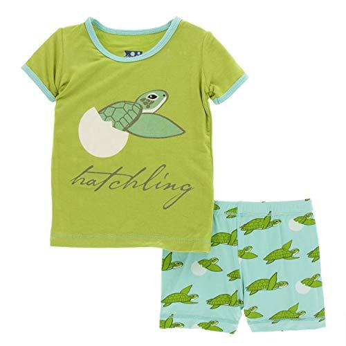 (Kickee Pants Cancun Print S/S Pajama Set with Shorts - Glass Sea Turtles, 3T)