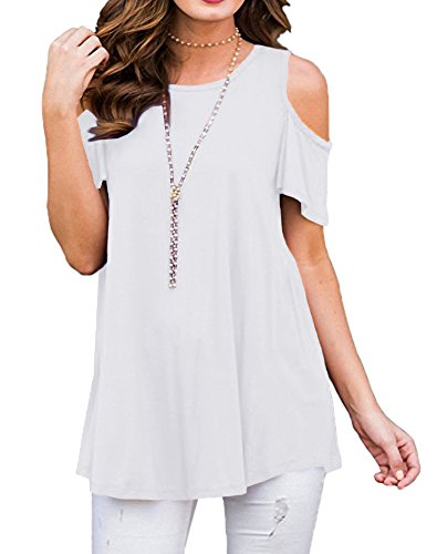 Cold Leggings - Afibi Womens Cold Shoulder Half Sleeve Swing Tunic Tops for Leggings (X-Large, A-White)