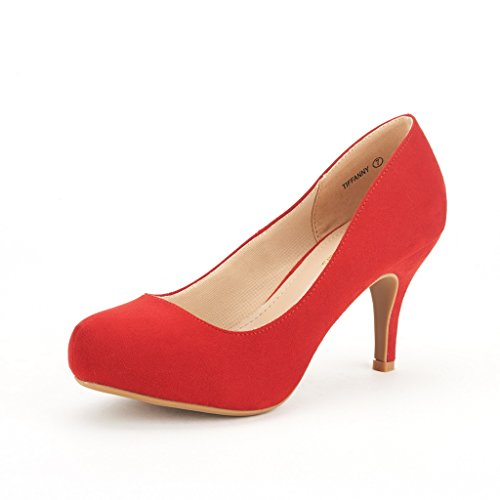 (DREAM PAIRS Tiffany Women's New Classic Elegant Versatile Low Stiletto Heel Dress Platform Pumps Shoes Red Size)