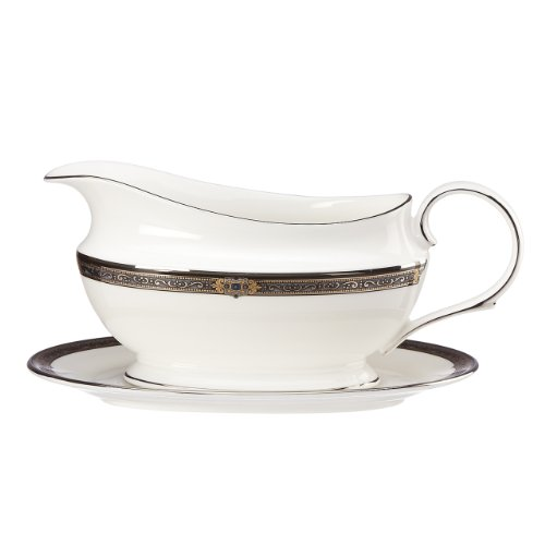 Lenox Vintage Jewel Sauce Boat and Stand, White (Sauce Bone China)