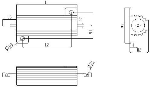 Electronics-Salon 2PCS 150 OHM 50W Wirewound Aluminum Housed Resistor.