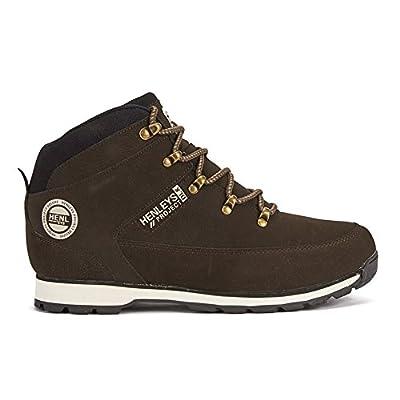 Neuf Pour Hommes/Hommes Noir Henleys à lacets Mi Cicatrices Chaussures Marche Avec Logo - Noir - TAILLES UK 7-12