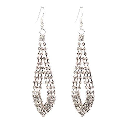 - Fashion jewelry fashion earrings female geometric diamond claw chain rhinestone long earrings (silver)