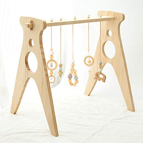 AWUYI Wood Baby Gym with 5 Gym Toys Stable Wood Activity Gym Hanging Bar Newborn Gift Baby Gym Grey