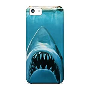 Scratch Protection Hard Phone Cases For Iphone 5c With Provide Private Custom HD Water Concept Funny Sharks Swimming Jaws Image PhilHolmes