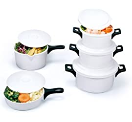 10-Piece Microwave Cookware Set with Pots, Skillet & Saucepan, White