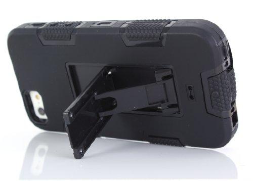 iPhone 5 5S SE Hülle , Heavy Duty Kickstand Schwarz PU Harte Rüstung Tasche Schutzhülle Shockproof Handyhülle Stoßdämpfende Schale Fall Case Shell Halter für Apple iPhone 5 5S SE