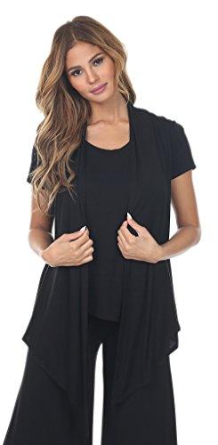 Short Sleeve Ruffle Cardigan (Angel Cola Womens Short Sleeve Draped Cardigan B7021 Black 2XLarge)