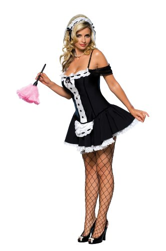 Secret Wishes Sexy Dust Bunny Maid Costume, Black, Medium