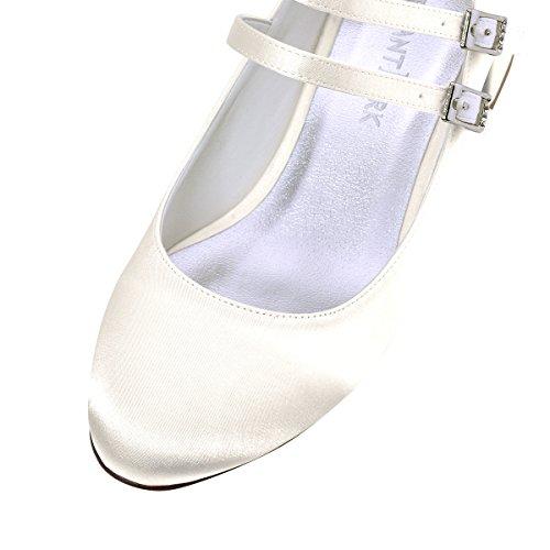 ElegantPark Damen Geschlossene Zehen Mary Jane Block Absatz Pumps Hochzeit Brautschuhe Ivory