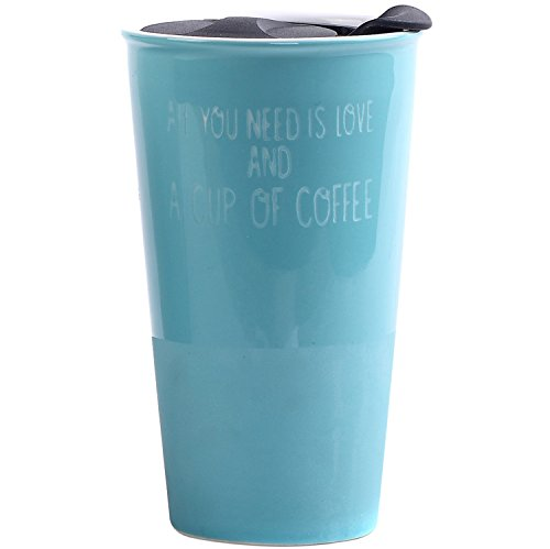 Travel Coffee Ceramic Mug Tea Cup Double Wall Porcelain With Lid 11oz. by CEDAR HOME, Teal (Mug Porcelain Handle With Travel)